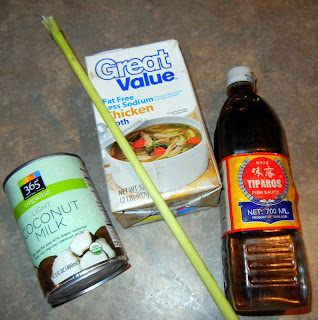 The remaining ingredients: coconut milk, lemon grass stock,  chicken stock and fish sauce
