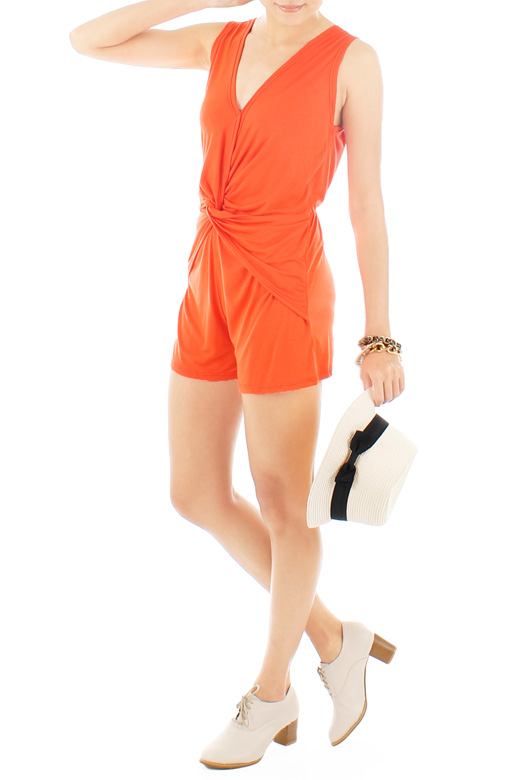 Knotted Hearts Romper – Neon Orange