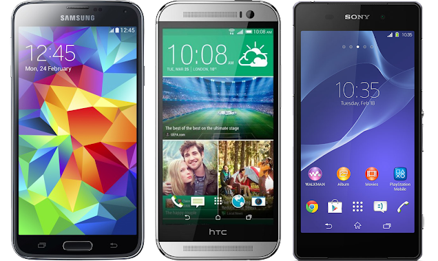 Galaxy S5 vs htc ONE (M8) vs Xperia Z2 Specs Comparison