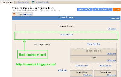 """Tạo khung """"Thêm tiện ích"""" (Thêm Widget) cho phần Header (đầu Blogspot) - by: http://namkna.blogspot.com/"""