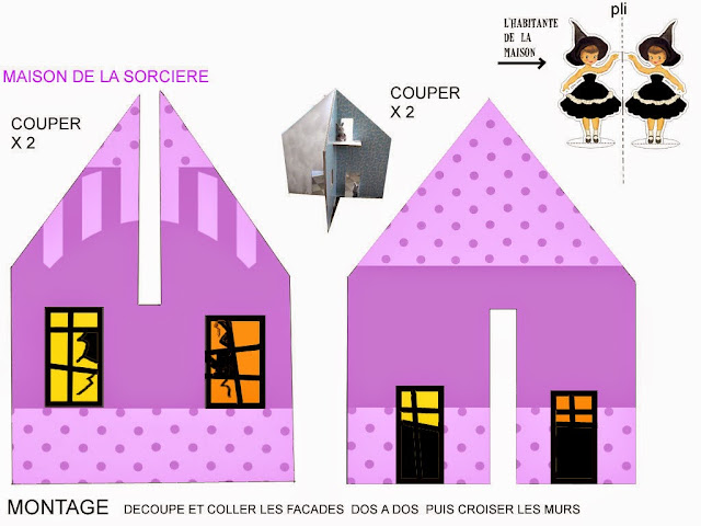 Free Printable Ghost House in Purple for Halloween.