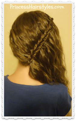 Scissor waterfall braid side swept hairstyle