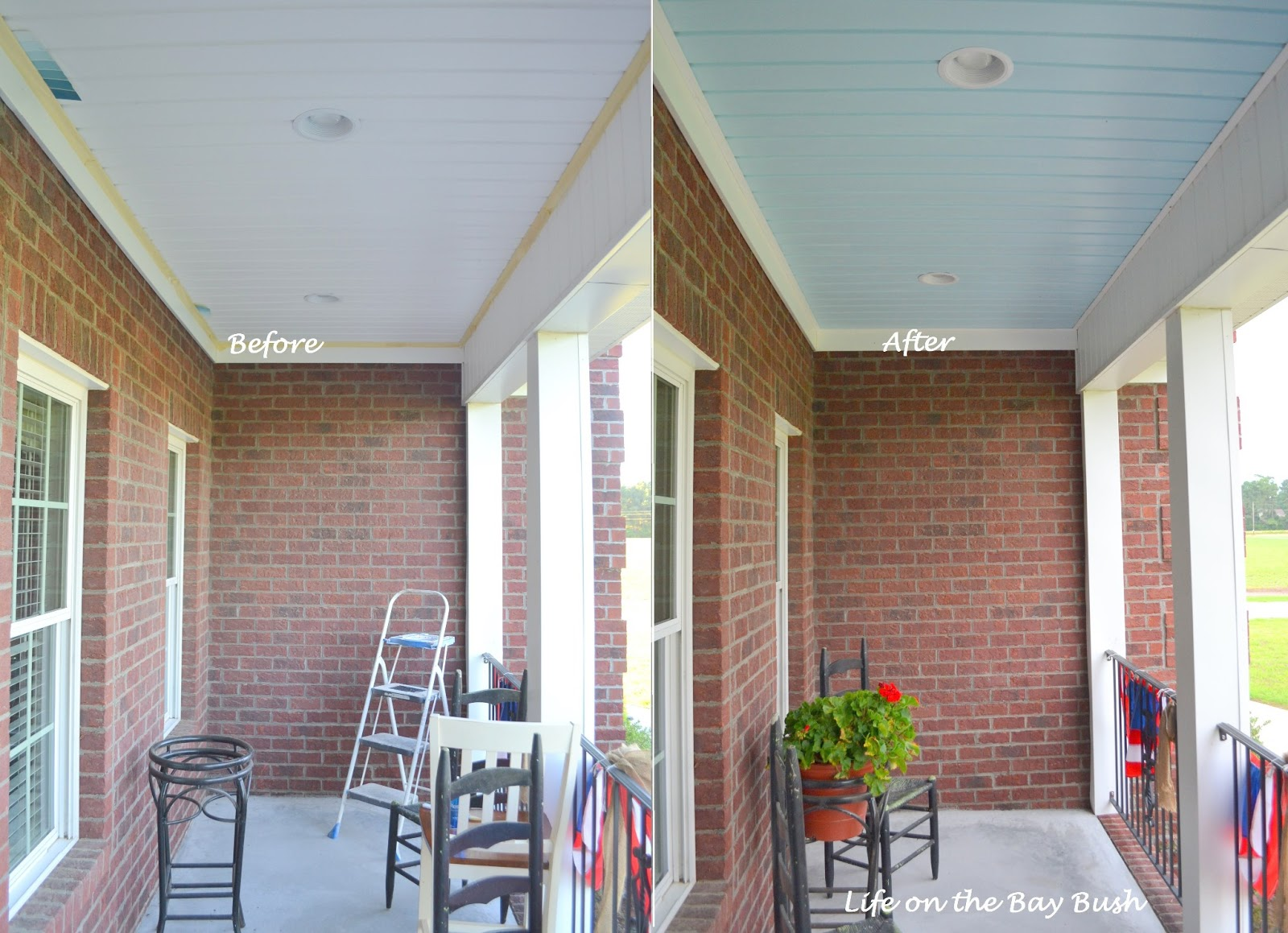 Painted Porch Ceiling - Life on the Bay Bush on carport plans product, carport designs, garage lighting ideas, carport kits, garage shelving ideas, outdoor room ideas, small screen porch decorating ideas, garage insulation ideas, car port design ideas, basement bedroom ideas, wooden ceilings ideas, garage wall material ideas,