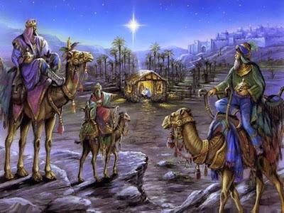 En la imagen los Reyes Magos llegando al portal de Belen.