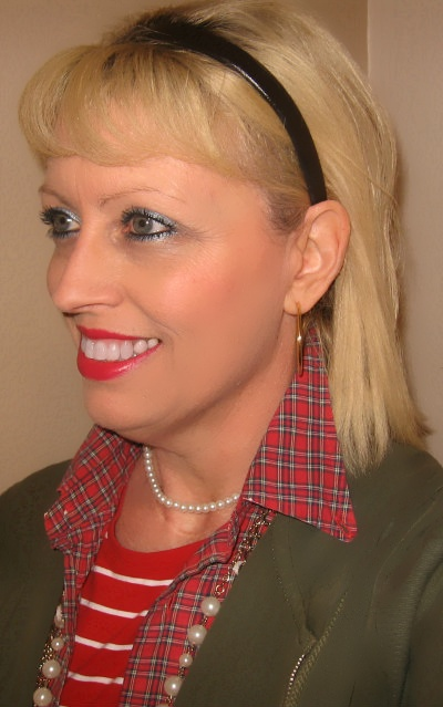 red plaid and pearls