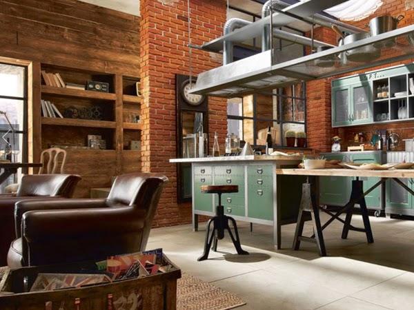 Industrialne męskie wnętrze  ILOBAHIE  kreatywne   -> Kuchnia Cegla Okap