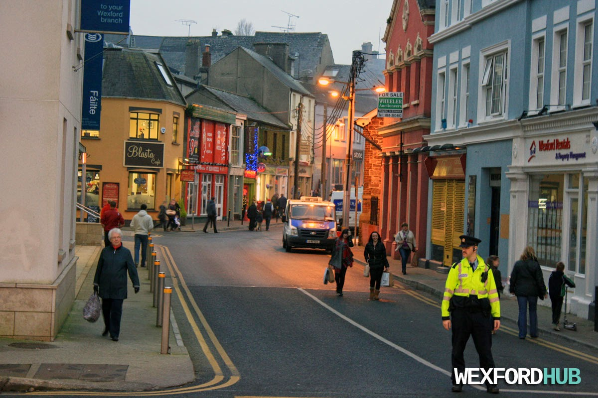 Garda traffic control on Common Quay Street in Wexford