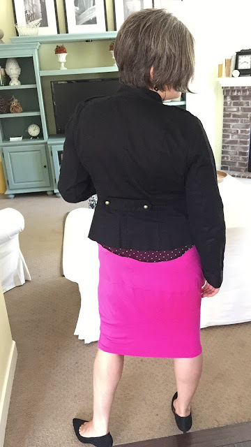 Fitted black jacket with gold buttons helps to draw eye down to give length to short torso, Fashion Friday, PInk, Black