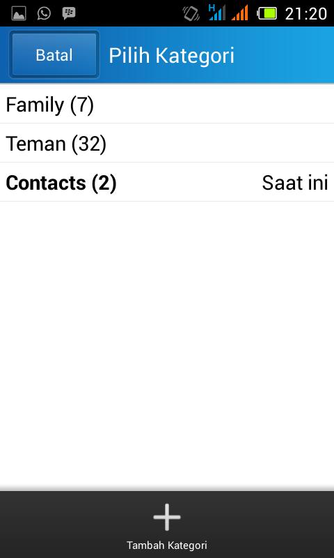cara membuat kategori kontak bbm