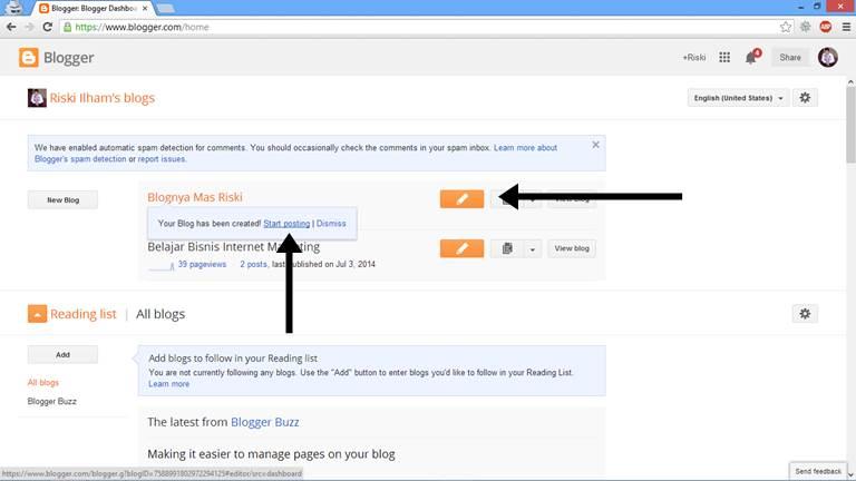 Cara Membuat Artikel di Blog 1