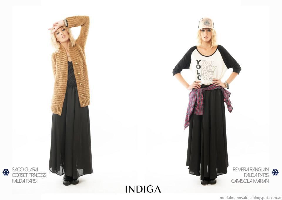 Faldas largas de moda otoño invierno 2014 Indiga.