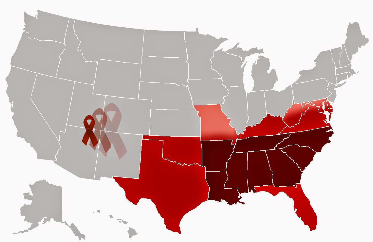 Map of the United States, with the southern states colored in red and the AIDS Ribbon moving toward these states.