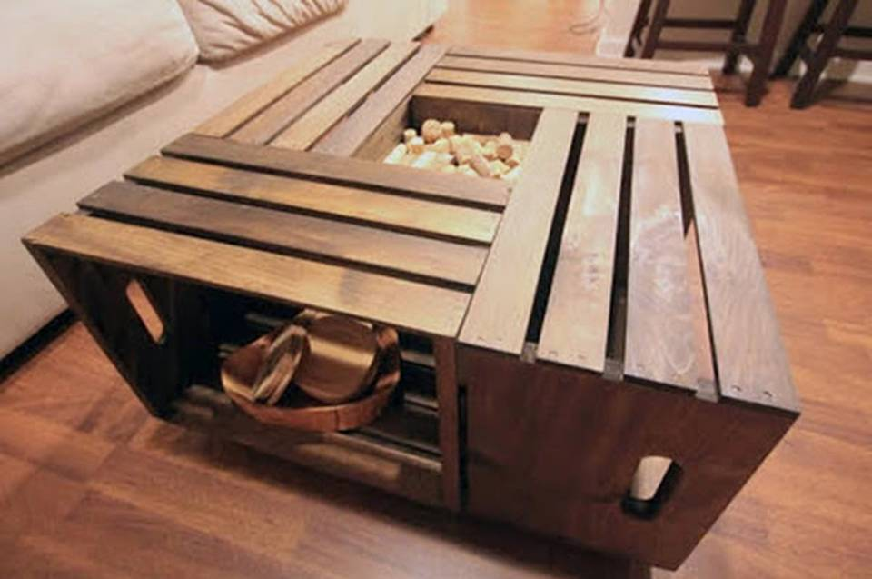 Home decor how to make a crate coffee table for Coffee table made out of wooden crates