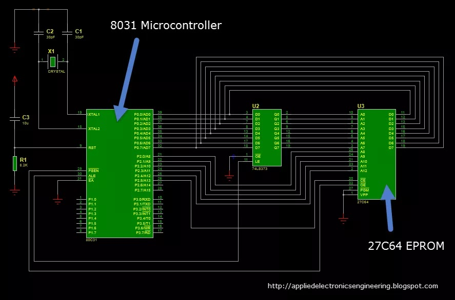 How to interface 8031 microcontroller to External ROM | applied ...