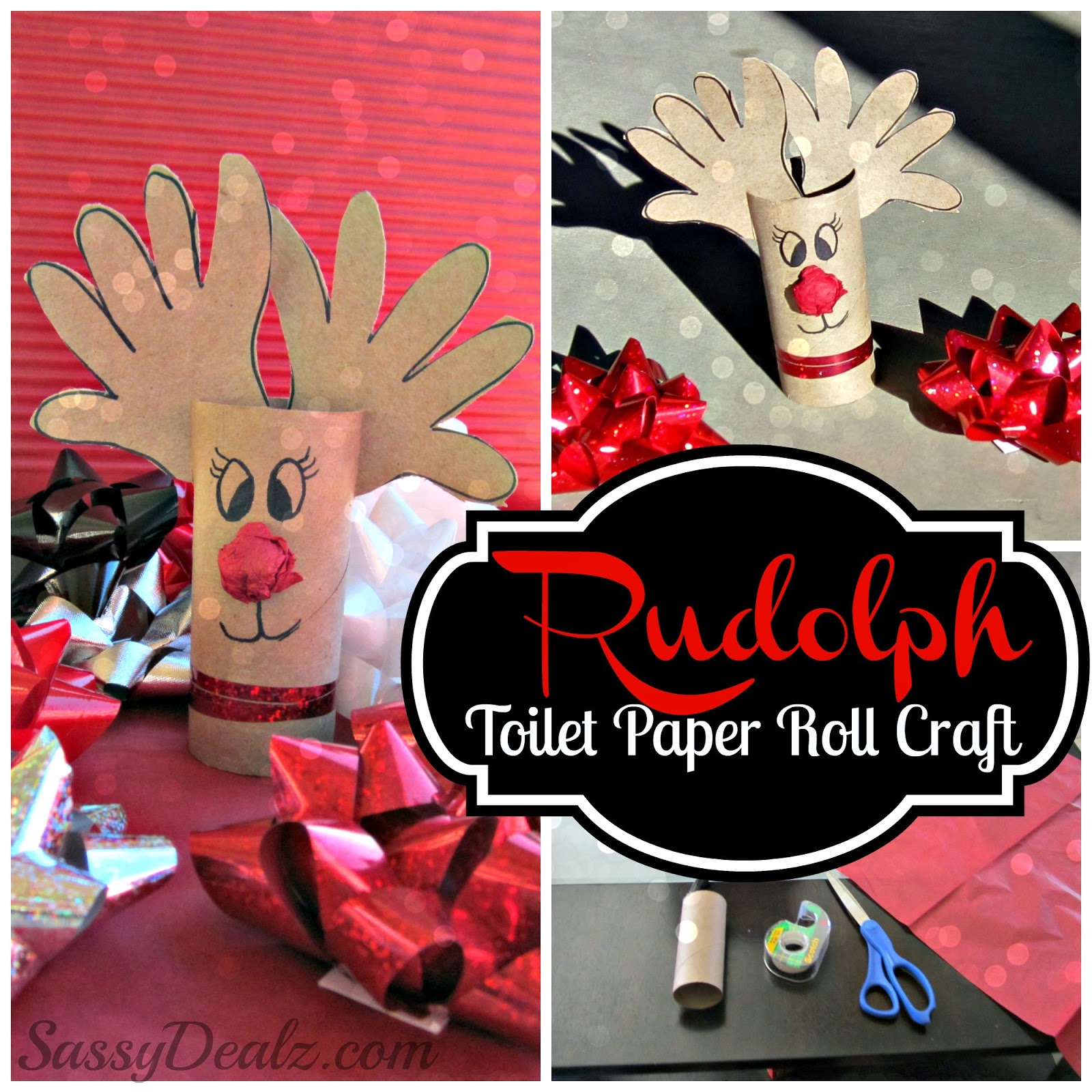 Reindeer Toilet Paper Roll Craft For Kids Rudolph at Christmas Time Christmas Craft For Kids Using Tp Roll