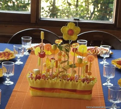 Decoracion de mesas mesa comunion con golosinas - Adornos con golosinas ...