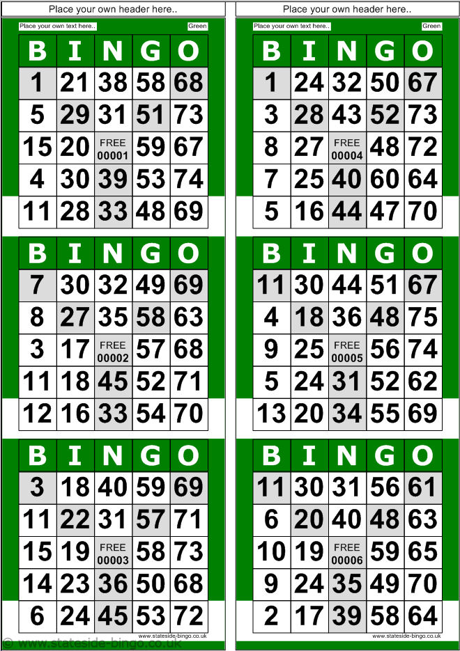 Printable Bingo Cards 4 Per Page Printable Cards