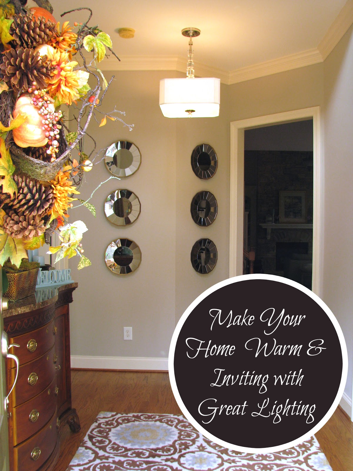 Foyer with Pendant Shade Light Fixture and Mirror Wall Gallery