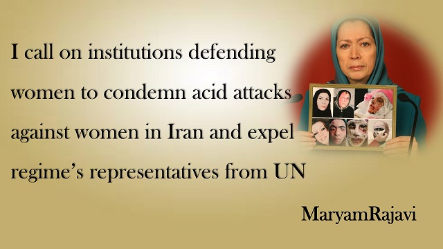 photo of  MaryamRajavi shows photo of  victims of Acid attacks