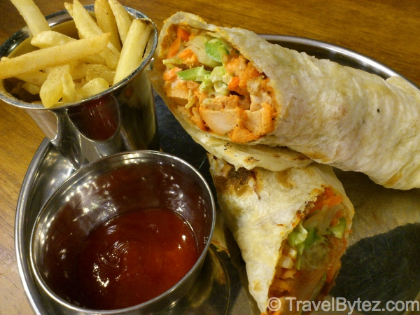 Chicken Tikka Wrap with fries