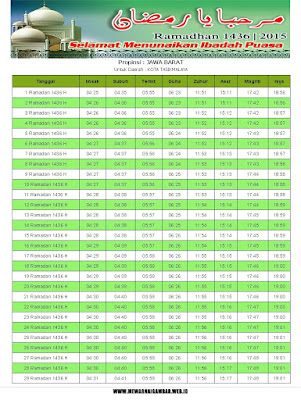 Jadwal Imsakiyah Kota Tasikmalaya Tahun 2015 (1436 H)