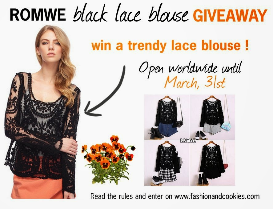 Romwe black lace blouse Giveaway on Fashion and Cookies
