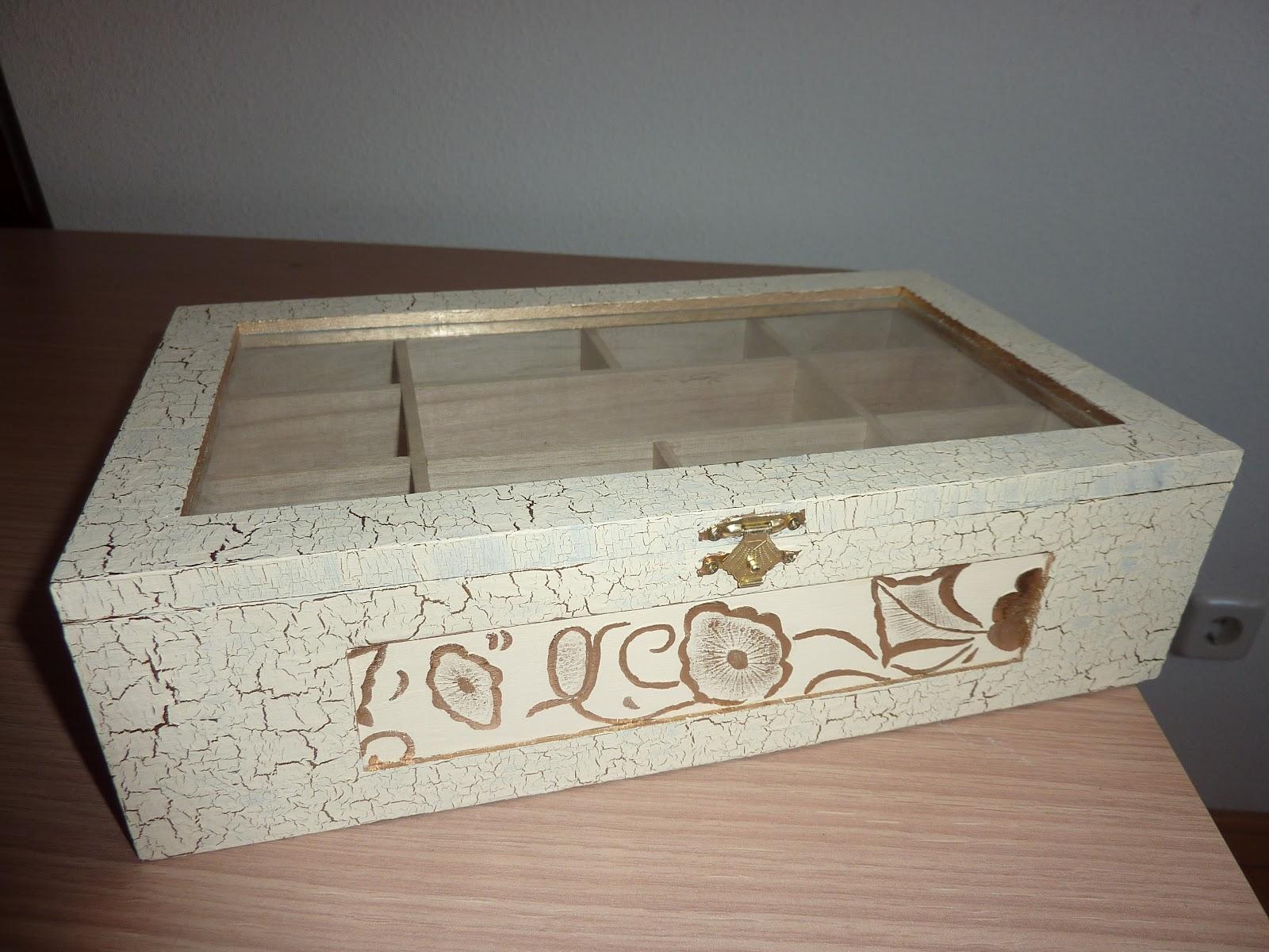 Mardol decoraciones s l caja joyero de madera craquelado - Craquelado de madera ...