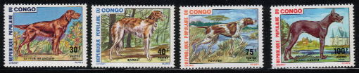 1974年コンゴ民主共和国 アイリッシュ・セター ボルゾイ ポインター グレート・デーンの切手