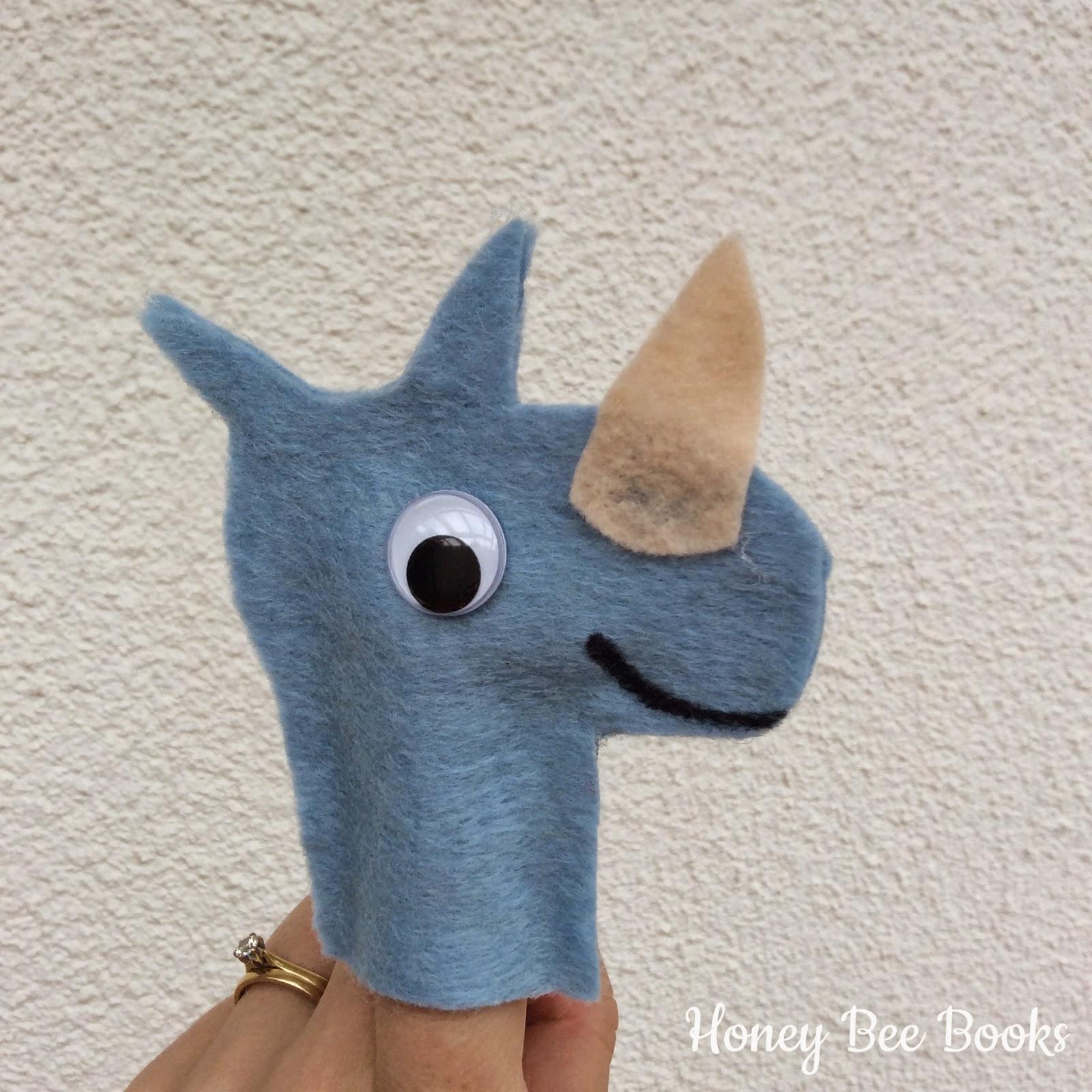 Simple Felt Rhinoceros Finger Puppets