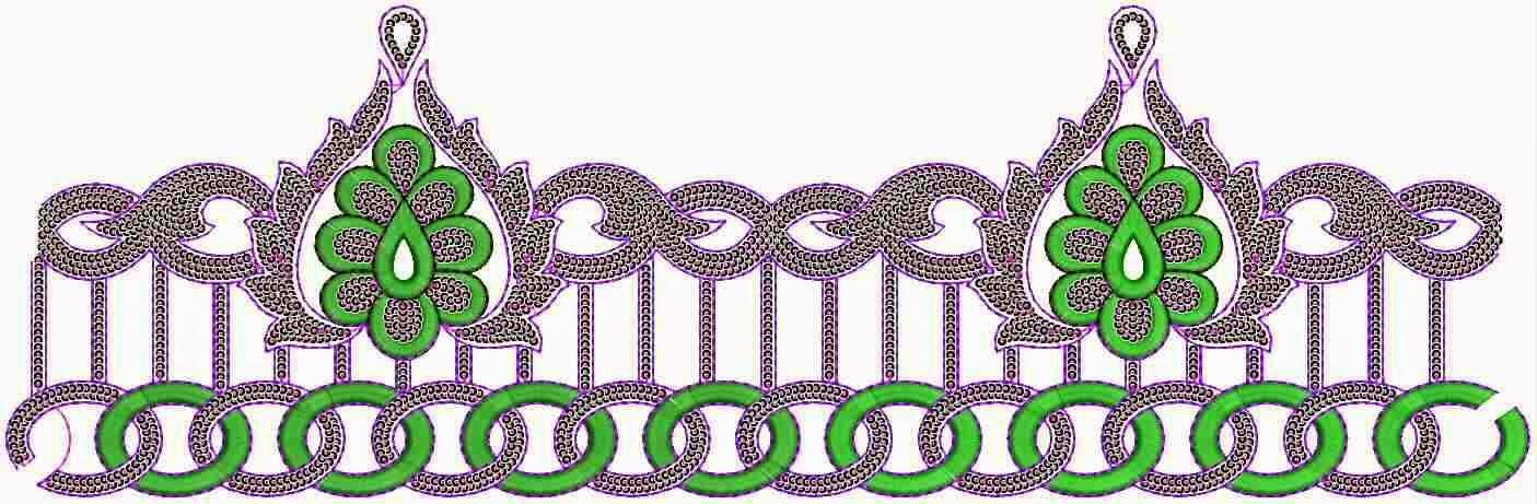 blom borduurwerk ontwerp Kant grens