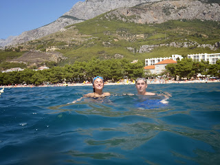 Me and wife swimming in Croatia