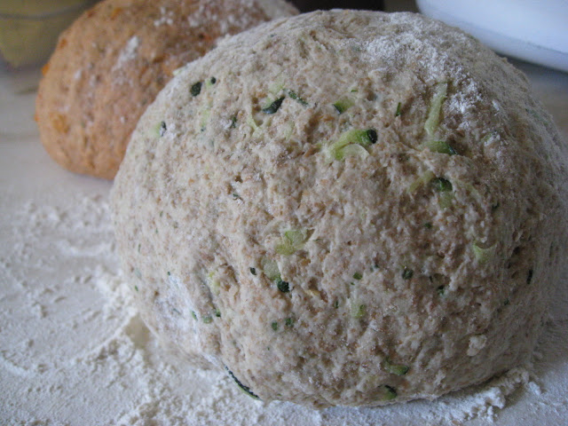 homemade courgette and mint bread dough