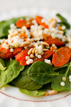 Spinach Salad with Roasted Carrots, Israeli Cous Cous and White Balsamic