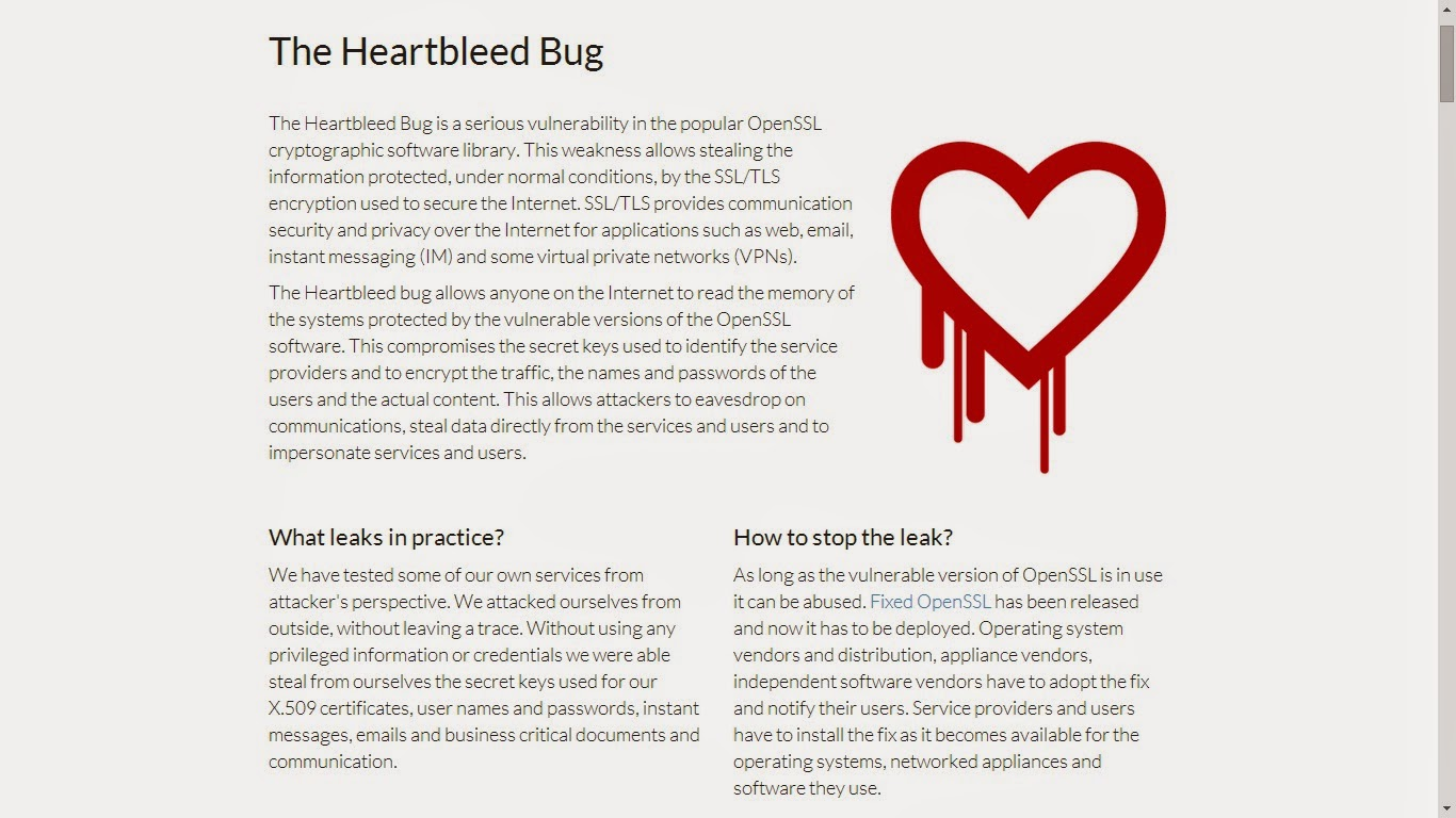 The Heartbleed Bug Website