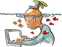 blogging, un hombre escribiendo en Internet, sumergido en sus propias fantasías, soñando en una playa