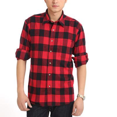 Model Baju Kemeja Flanel Pria Hitam Merah Murah Grosir