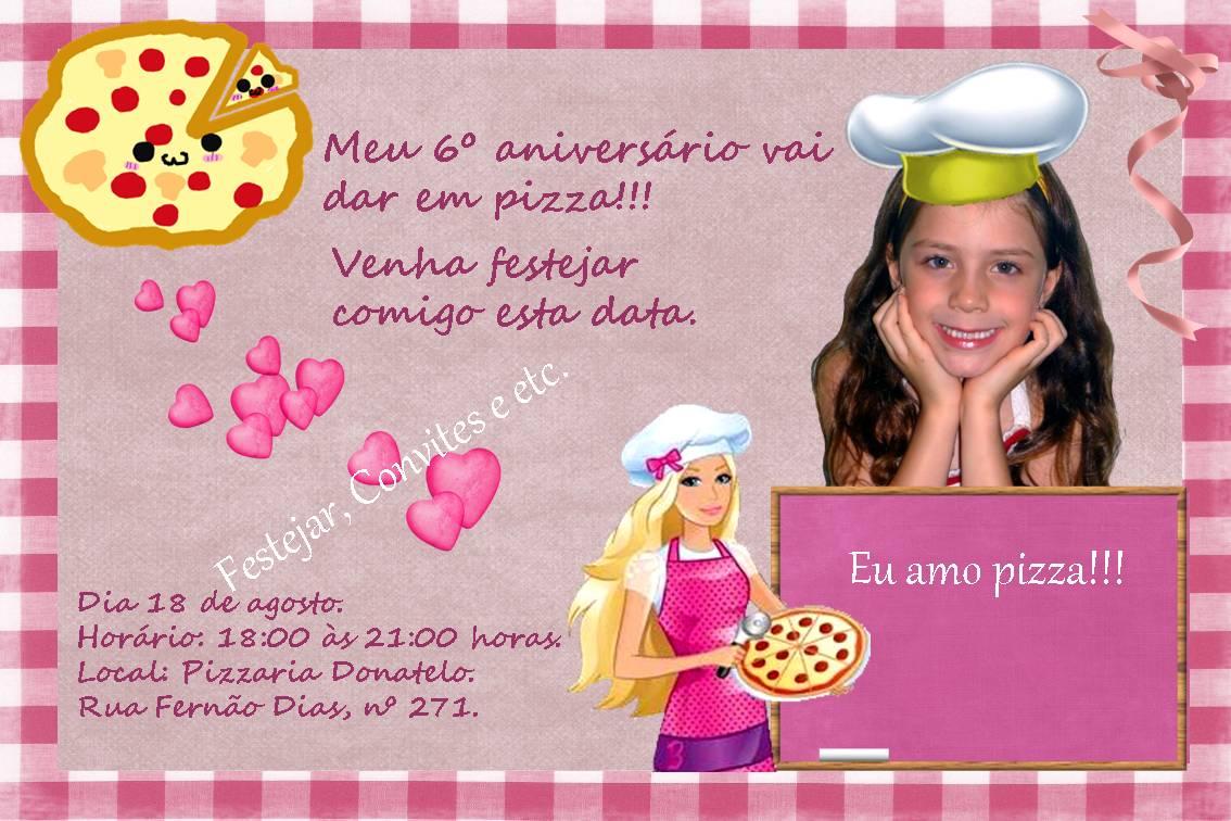 Convite Anivers  Rio Menina Hannah Montana   Tema Pizza