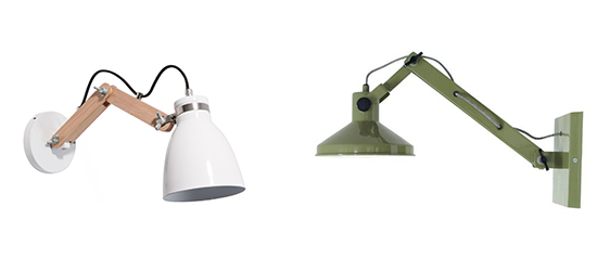 Oslo adjustable wall light by Maison Du Monde and Green wall light by HK Living