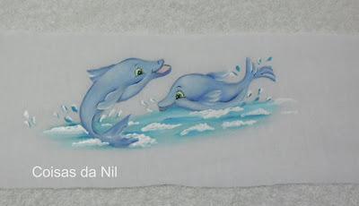 """""""golfinhos pintados em fralda """""""