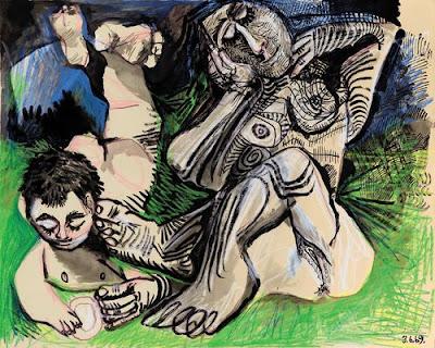 Pablo Picasso - Femme et jeune garçon nus, 1969, crayon gras et lavis sur papier, 50x65 cm
