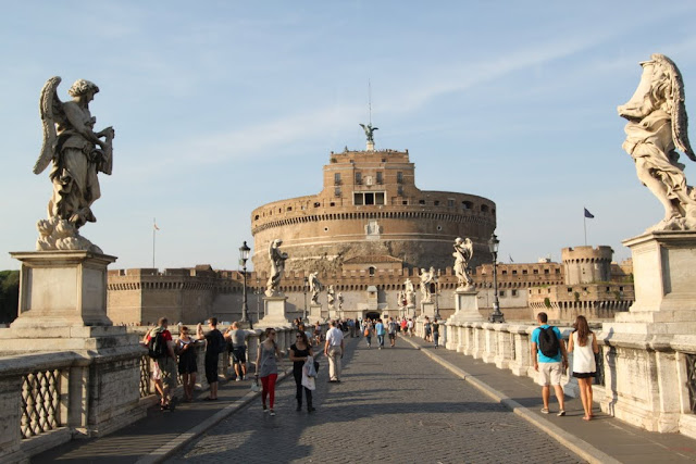 Castel Sant'Angelo and the statues of angels along the bridge in Rome, Italy
