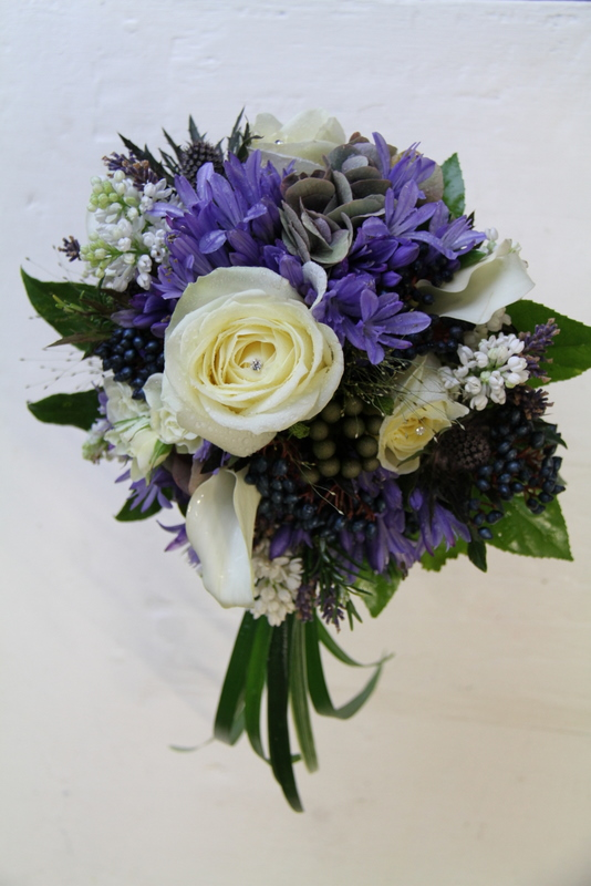 Spring Wedding Bouquet in Blue Agapanthus Lilac Blue Thistles