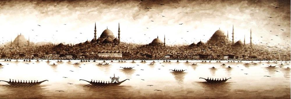 Eski ıstanbul u anlatan marmara denizinden ıstanbul manzarası
