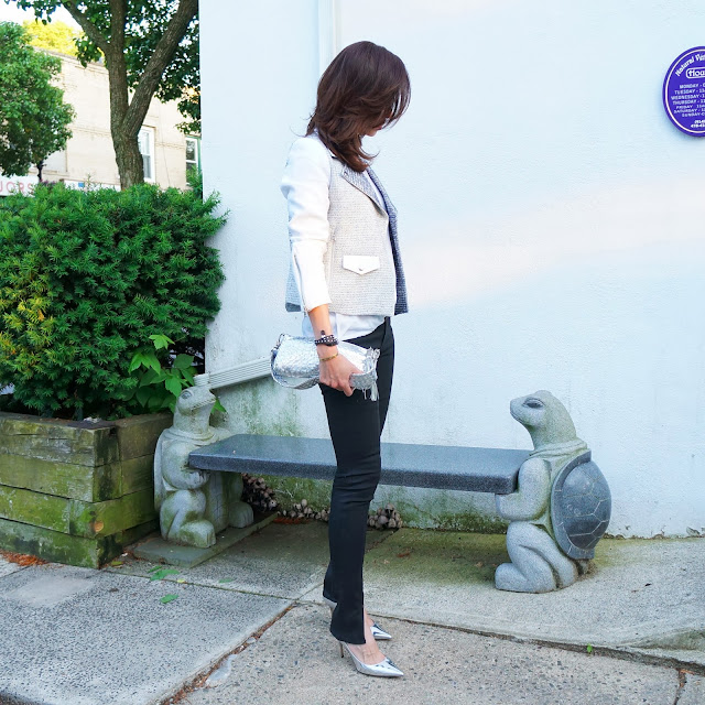 Wearing Sandro jacket with JBrand jeans and Jimmy Choos