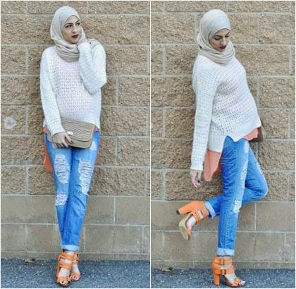 Tetap Anggun Berhijab Meski Menggunakan Celana Jeans