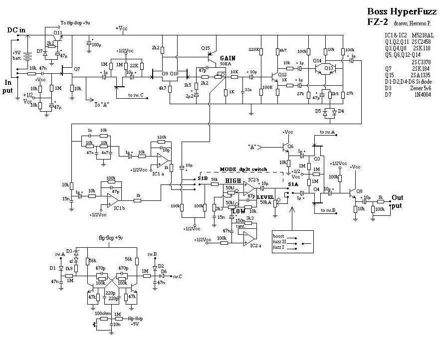 Boss Hyper Fuzz FZ2 circuit schematic