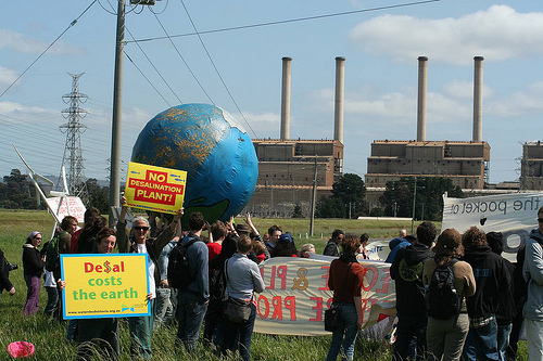 Photograph of anti-desalination protest at Hazelwood Power Station (Australia) in 2010