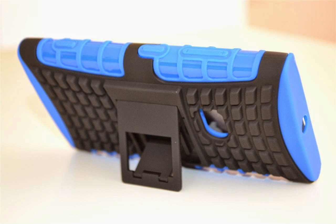 Blue Strong Heavy Duty Nokia Lumia 920 Tradesman TPU Hard Case Cover Stand