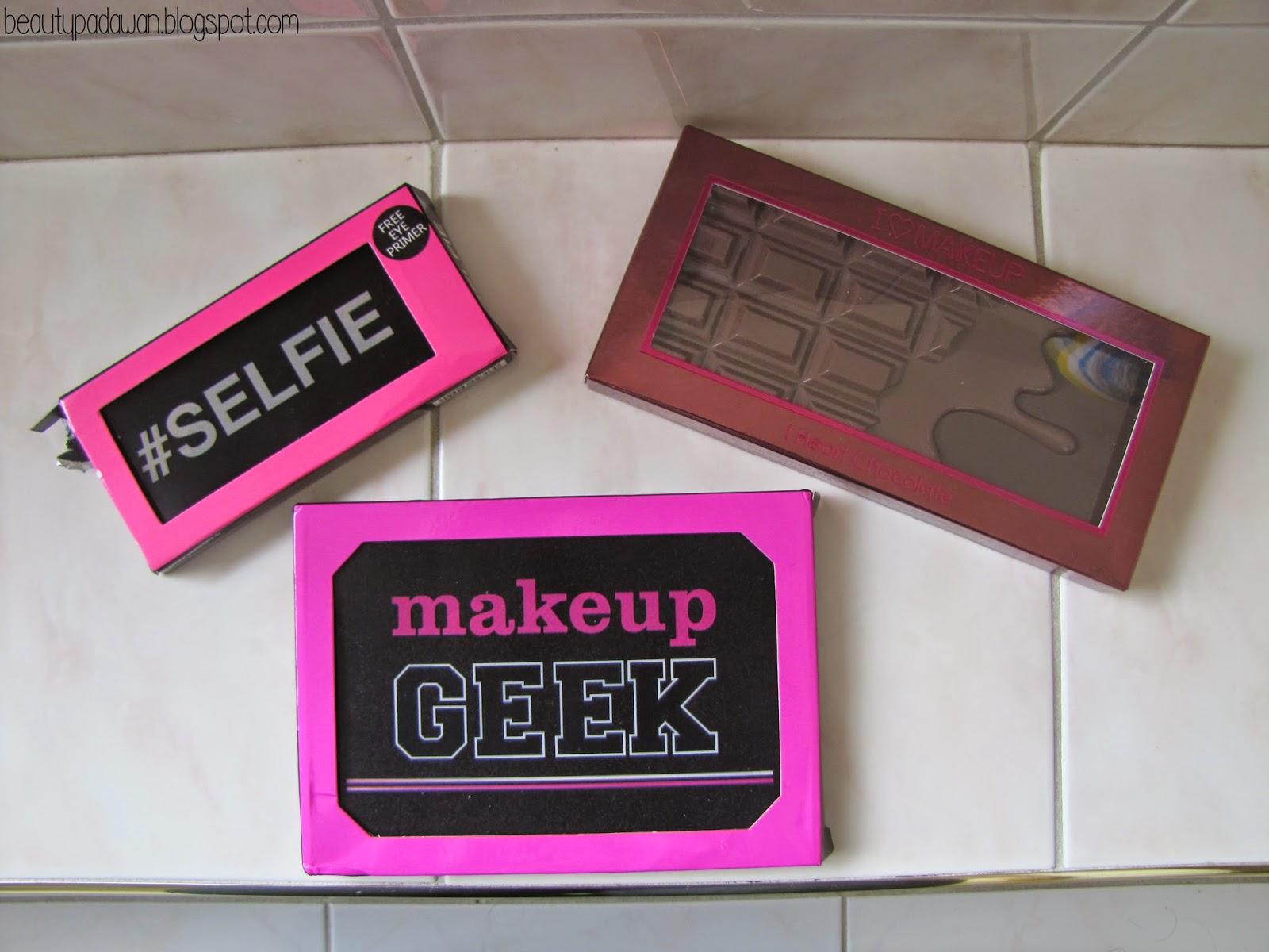 I Heart Makeup #Selfie Palette; I Heart Makeup I Heart Chocolate Palette; I Heart Makeup Makeup Geek Palette