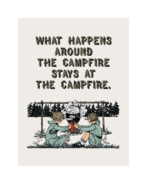 vintage illustration of girls playing by a camp fire